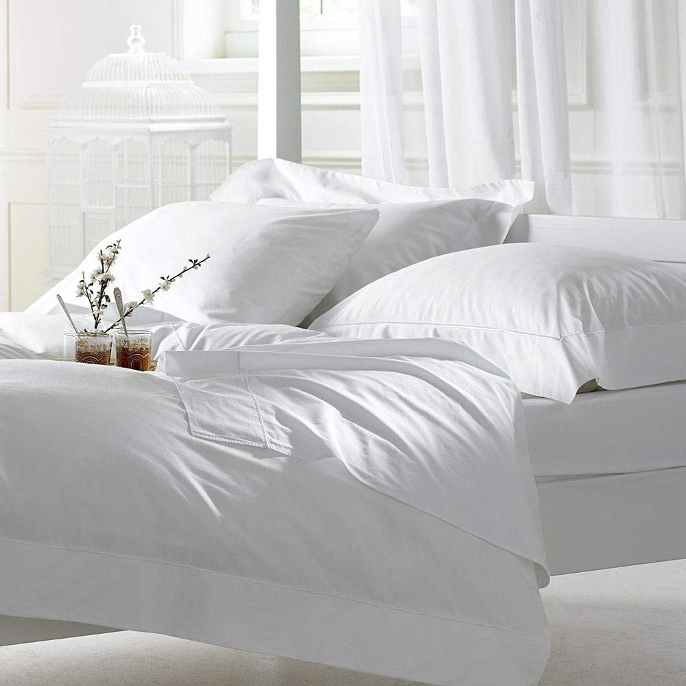 Lussona Collection 1500 Thread Count 100% Organic Cotton Bed Sheets - 4 Piece Bed Sheet Set 21'' Deep Pocket Bedding- King,White.