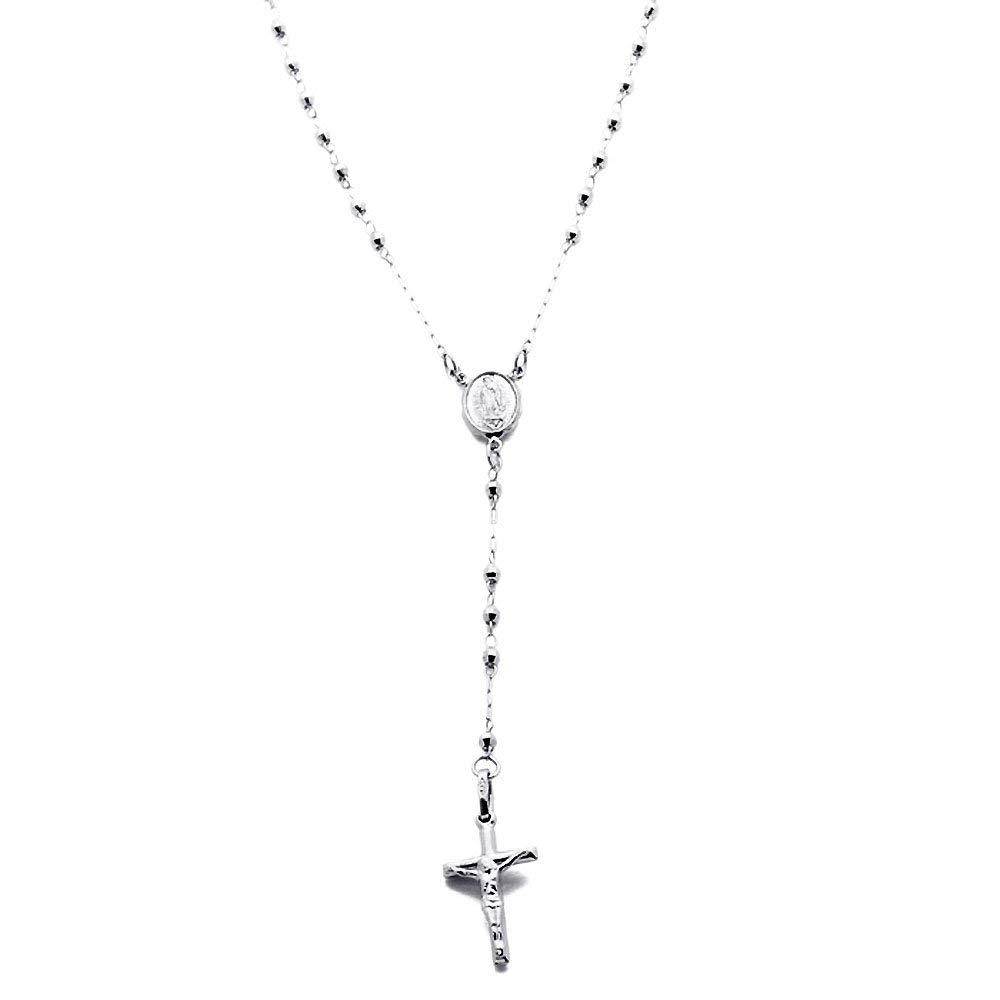 14K White Gold Rosary Necklace 2.5mm Bead Rosary Chain Necklace (16, 18, 20 Inches)