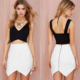 Cheap wholesale latest skirt and blouse white color girls sexy frill mini skirt