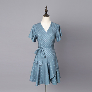 Newly Arrival Summer Season Boutique Women Blue with White Polka Dots Printing Wrap Fashionable Short Sleeves Casual Dress