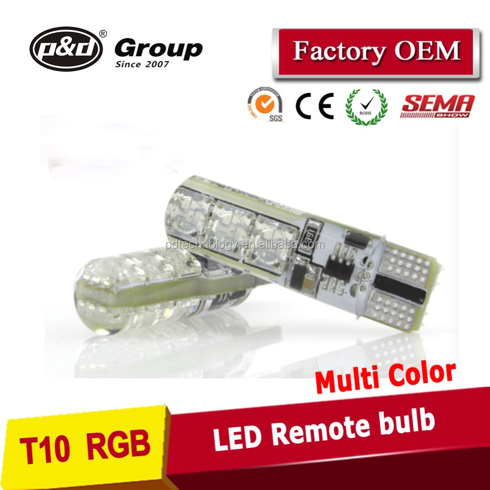 New Multi color RGB T10 194 168 W5W LED Wedge Interior Reading light Bulbs 6 SMD 5050 Strobe Flash 16 Colors With Remote Control