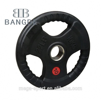 2.5kg 5kg 7.5kg 10kg 15kg 20kg 25kg Black Rubber Coated Tri Grip bumper weight plate