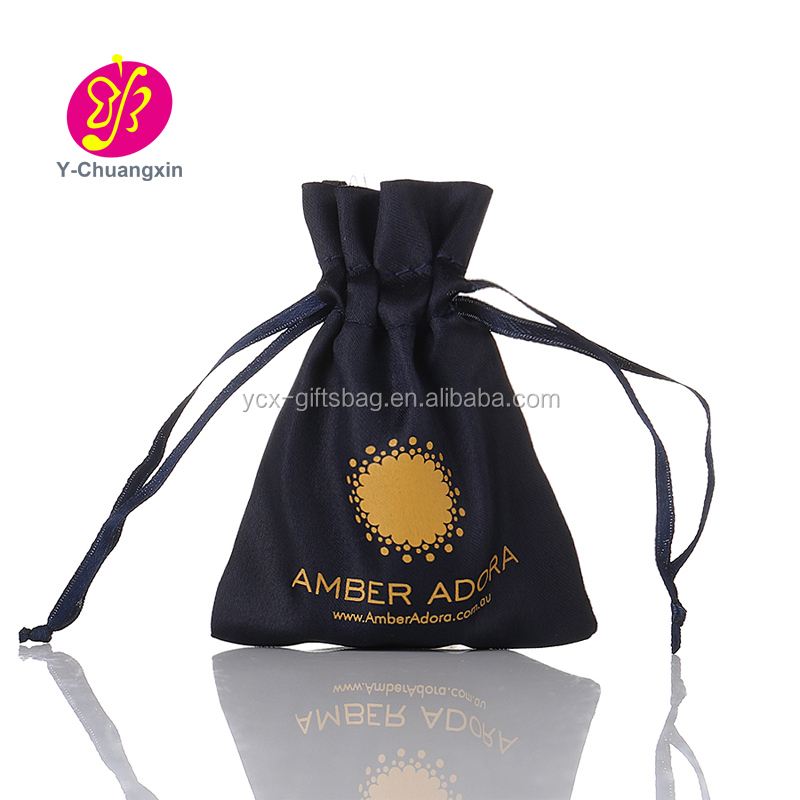 Customized wedding decoration Navy Blue Satin jewelry pouches mini indian drawstring pouch