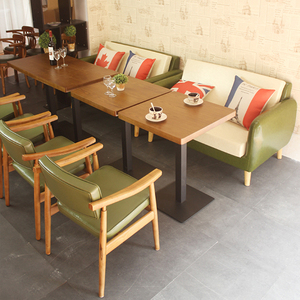 Wooden restaurant chairs and table cafe loft set