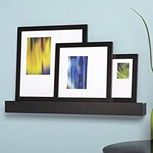 "Citi Black 24"" Wall Mounted Ledge and 3-Photo Frame Set, 13"" x 13"", 10"" x 10"", 6"" x 8"""
