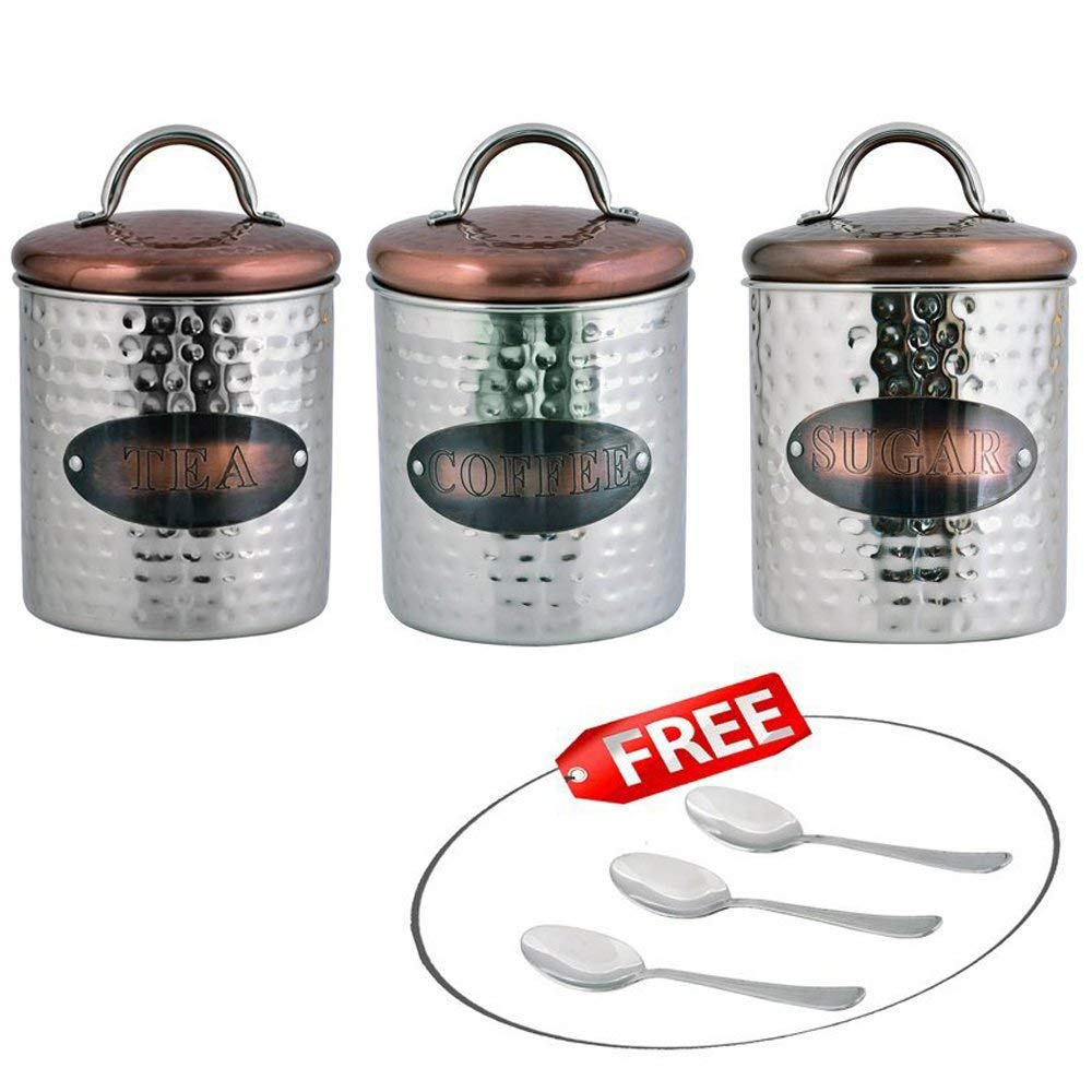 Kosma Set Of 3 Stainless Steel Tea Sugar Coffee Canister Sets | Kitchen  Storage Jar Sets