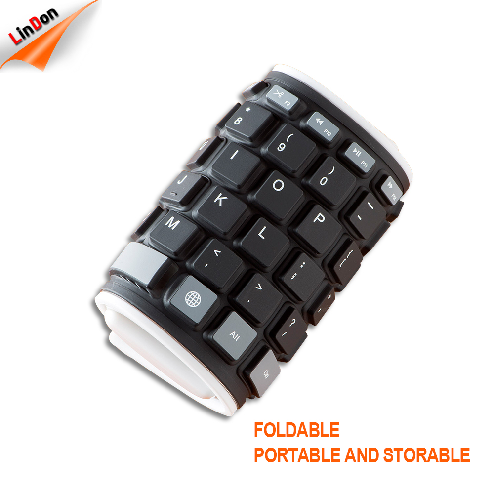 Custom Colorful Silicone Flexible Rubber Wireless Keyboard Waterproof