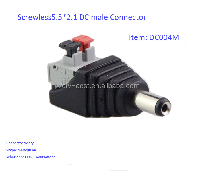 Screwless Terminals DC 5.5x2.1mm Male Plug CCTV Power Connector,DC Power Male Connector