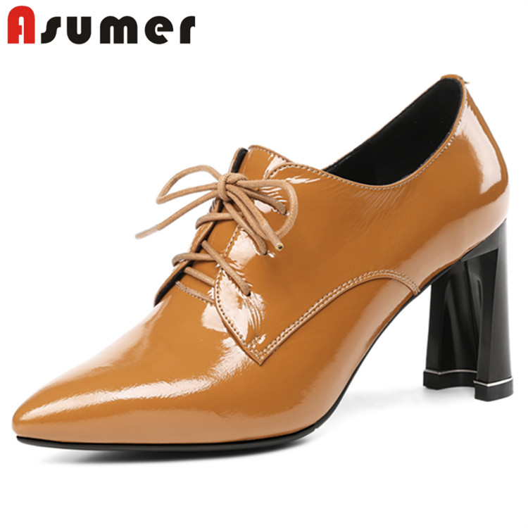 heel office Asumer toe shoes Lace autumn high women steel up q7nEIR
