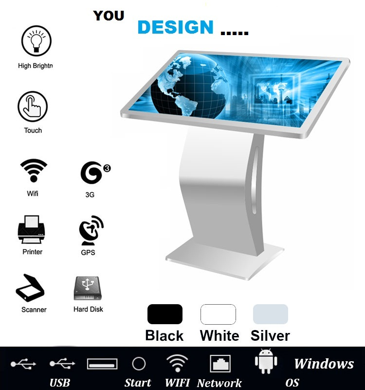 43 inch free stand LCD touch screen Windows digital totem kiosk