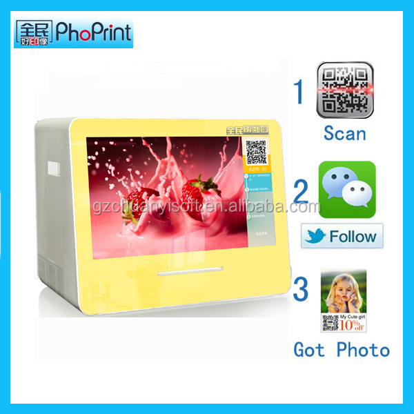 dye sublimation printer roll desktop small photobooth moblie phone gallery pictures printing kiosk machine with advertisement te