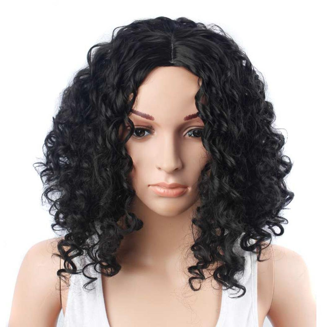 Emubody 15 inches Women Fashion Lady Black Short Curls Hair Cosplay Party Wig Short curly hair wigs Afro Curly Hair Wigs for Black Woman Short Kinky Hair Jet Black Heat Resistance Fiber cosplay