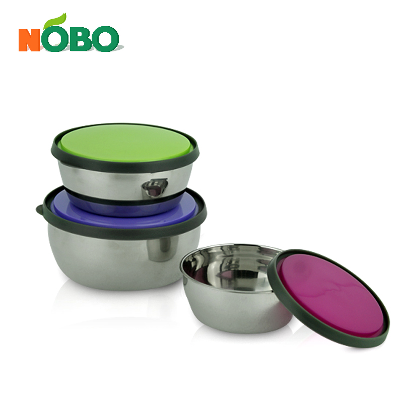 Stainless steel stackable refrigerator food container set with colorful lid