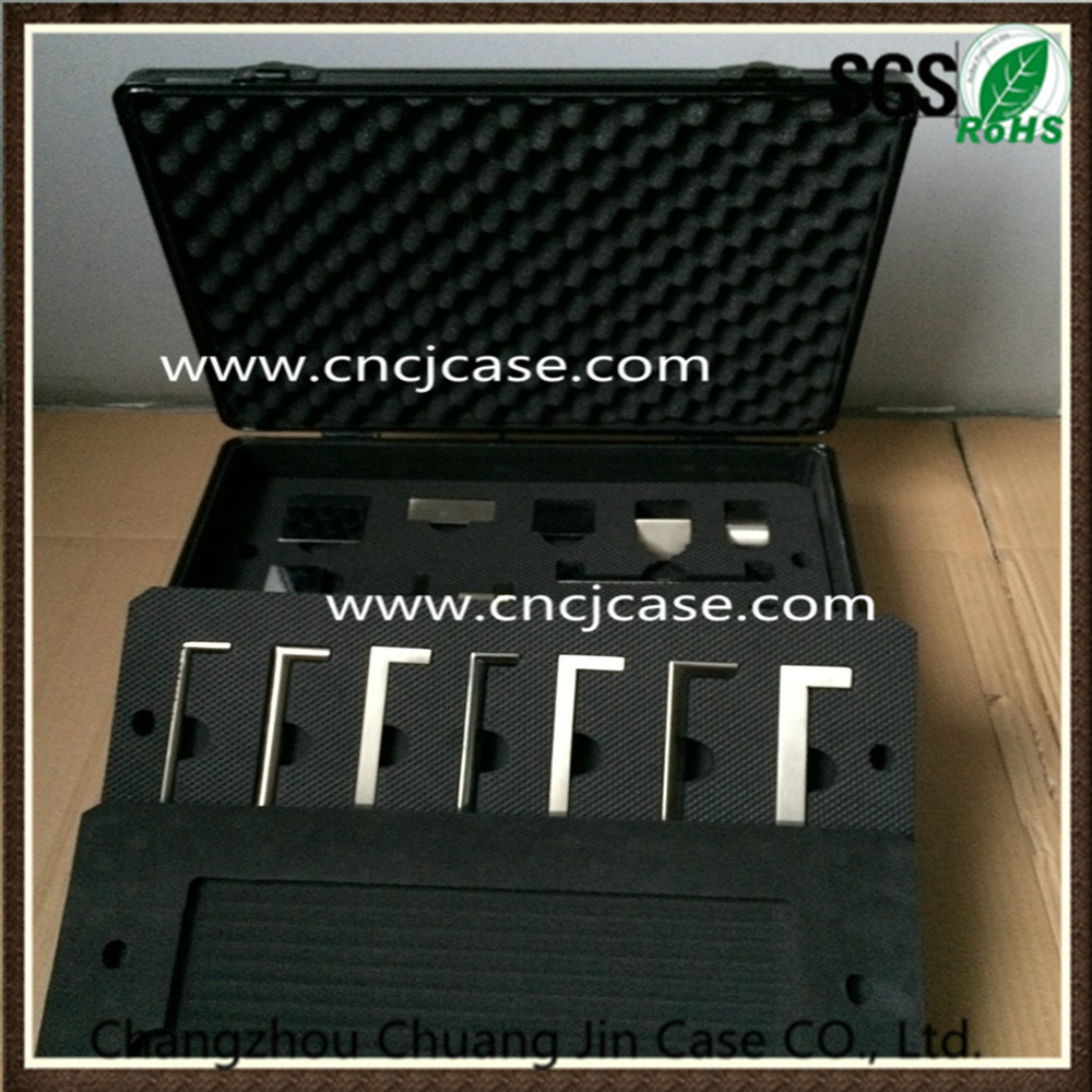 Factory offer new style Portable black aluminum tool case with EVA model