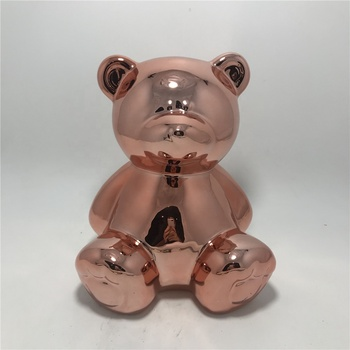 Rose gold plating teddy bear shaped ceramic money piggy bank