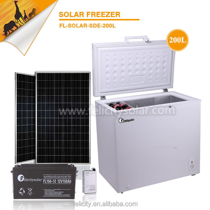 Felicity battery power easy install 200L top open rechargeable solar ac dc fridge freezer