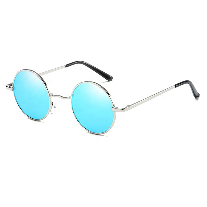 High quality manufacture custom womens black circle round metal frame sunglasses фото