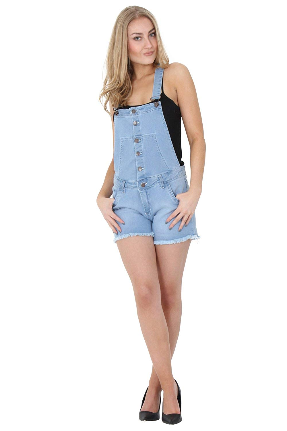 ee71ca12a9 Get Quotations · G8 One Light Wash Denim button Front Bib Overall Shorts  Ladies Denim Overall Shortalls