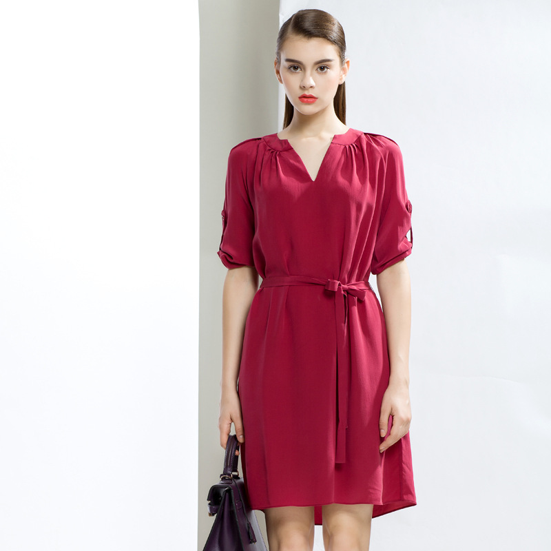 9c6acd4c Get Quotations · 100% Silk Women Red Business Work Office OL Dress Ladies  Casual Slim Tunic Half Sleeve