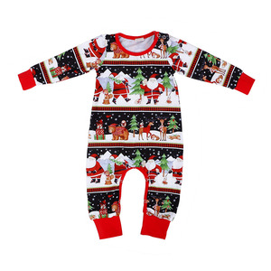 Wholesale baby clothes christmas design baby wear clothes long sleeve baby girl romper