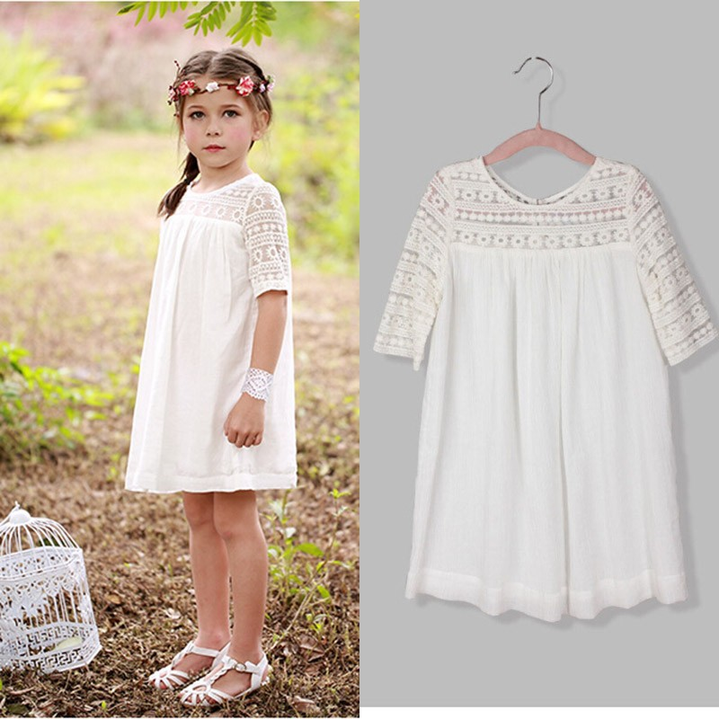 Hot sale! 2016 New Fashion Korean Children Clothing Beautiful White Girls Lace Dress Princess Mini Dresses Kid Baby Clothes