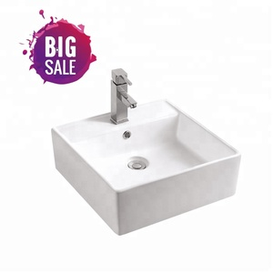 September Big Sale Sanitary Wares Furniture Square Sink with Single Faucet Hole Bathroom Wash Art Basin