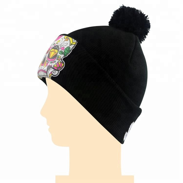 carnaval imprimir o logotipo preto do inverno chapéu gorro de malha