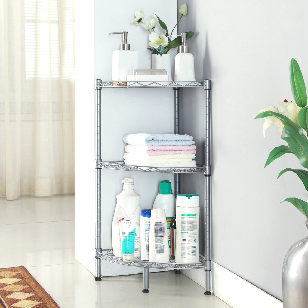 TEERFU Bathroom Corner Shelf Stainless Steel 3 Tiers Shower Storage Corner Shelv