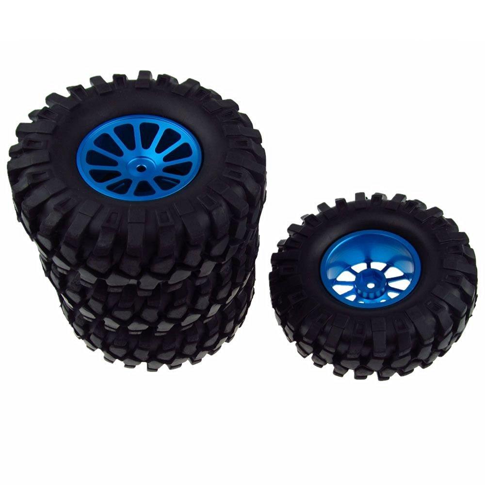 JIUWU 1/10 Buggy Climbing Car RC Wheel Rim 108mm Tyre RC Tires Aluminum Alloy Spoke Blue Pack of 4