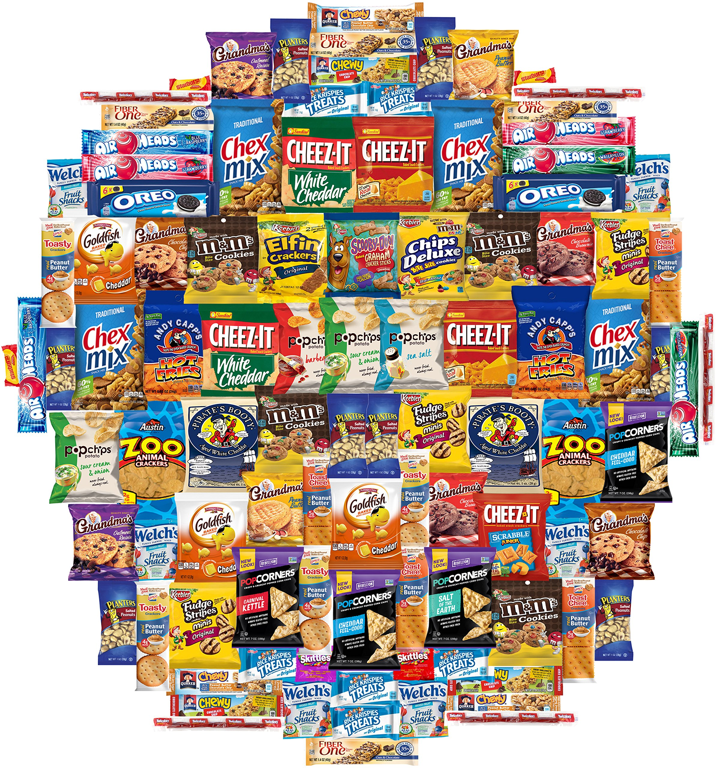 Snacks Care Package Gift Assortment Sampler Mixed Bars, Cookies, Chips, Candy for Office, Military, College, Meetings, Schools, Friends & Family (100 Count)