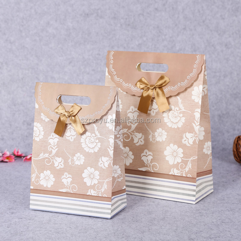 Paper bowknot pretty present gift bag magic sticky sticker party birthday bag