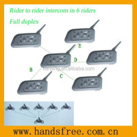bluetooth helmet intercom for 6 riders work with motorcycle up to 1200 meter