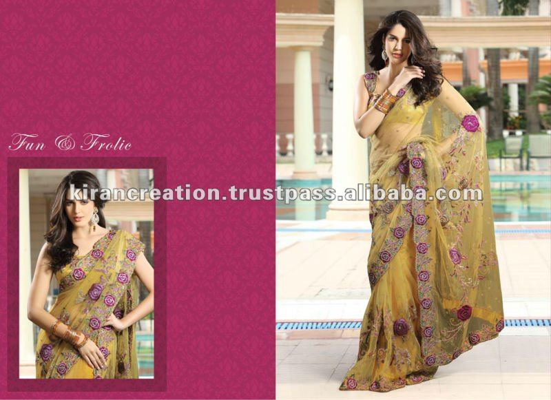 Yellow Net Party Wear Saree