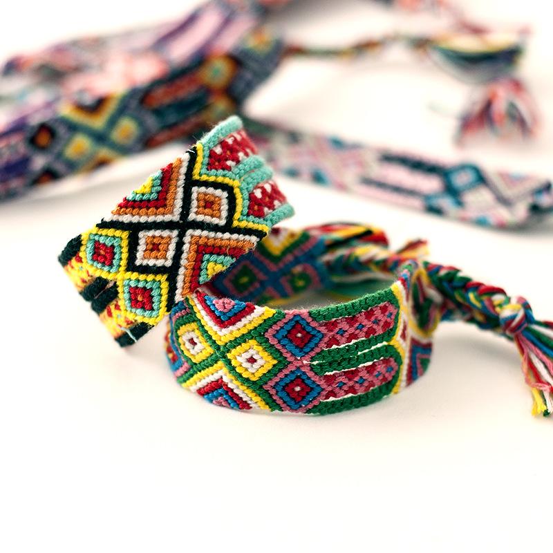 Nepal friendship bracelets 2.8CM Colorful Cotton weave bracelets Handmade national winds bracelets фото