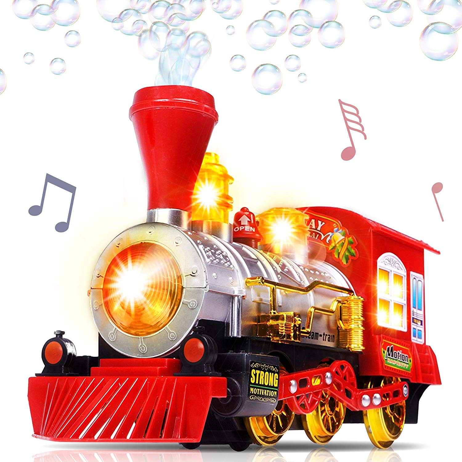 Bubble Blowing Toy Train with Lights and Sounds by ArtCreativity | Includes 5oz Bubble Solution and Plastic Funnel | Moving Bump and Go Steam Locomotive for Kids | Great Gift Idea for Boys and Girls