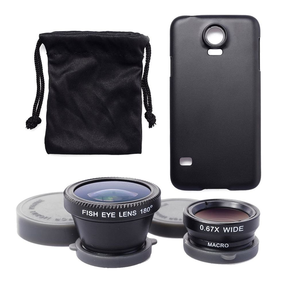 SODIAL Black 3in1 180 Degree Lens Fish Eye Lens + Wide Angle + Micro-Lens + Case / Cover / Hard Case + Bag / Carry Bag / Pouch For Samsung Galaxy S5 i9600 DC471