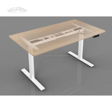 Dual motor three segments electric height adjustable desk frame