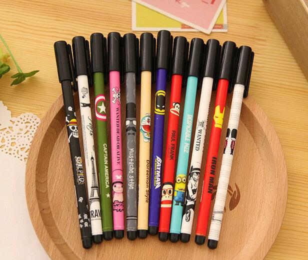 wholesale promotional floral gel pen best china factory price customize cartoon characters print black ink office ball point pen