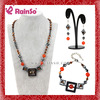 Stainless Steel Lobster Clasp Orange Beaded Necklace Earring Sets