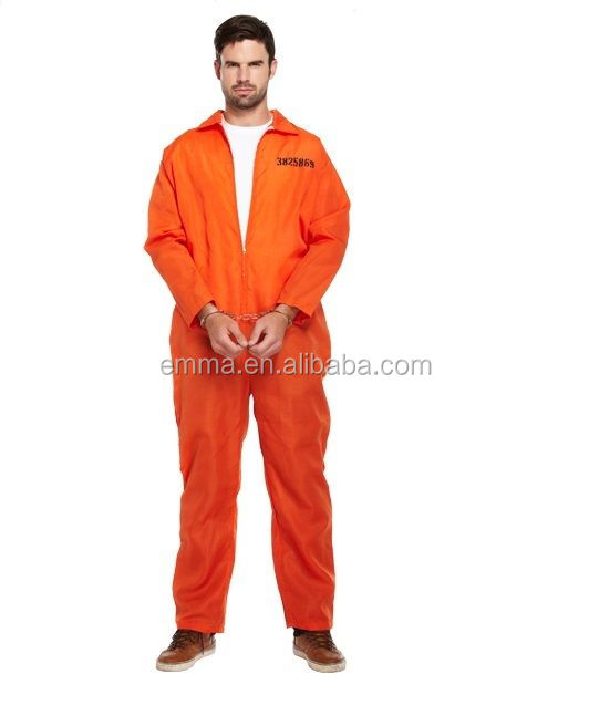 PRISONER ORANGE CANNIBAL JUMPSUIT KILLER PRISON HALLOWEEN FANCY DRESS COSTUMEBM3507