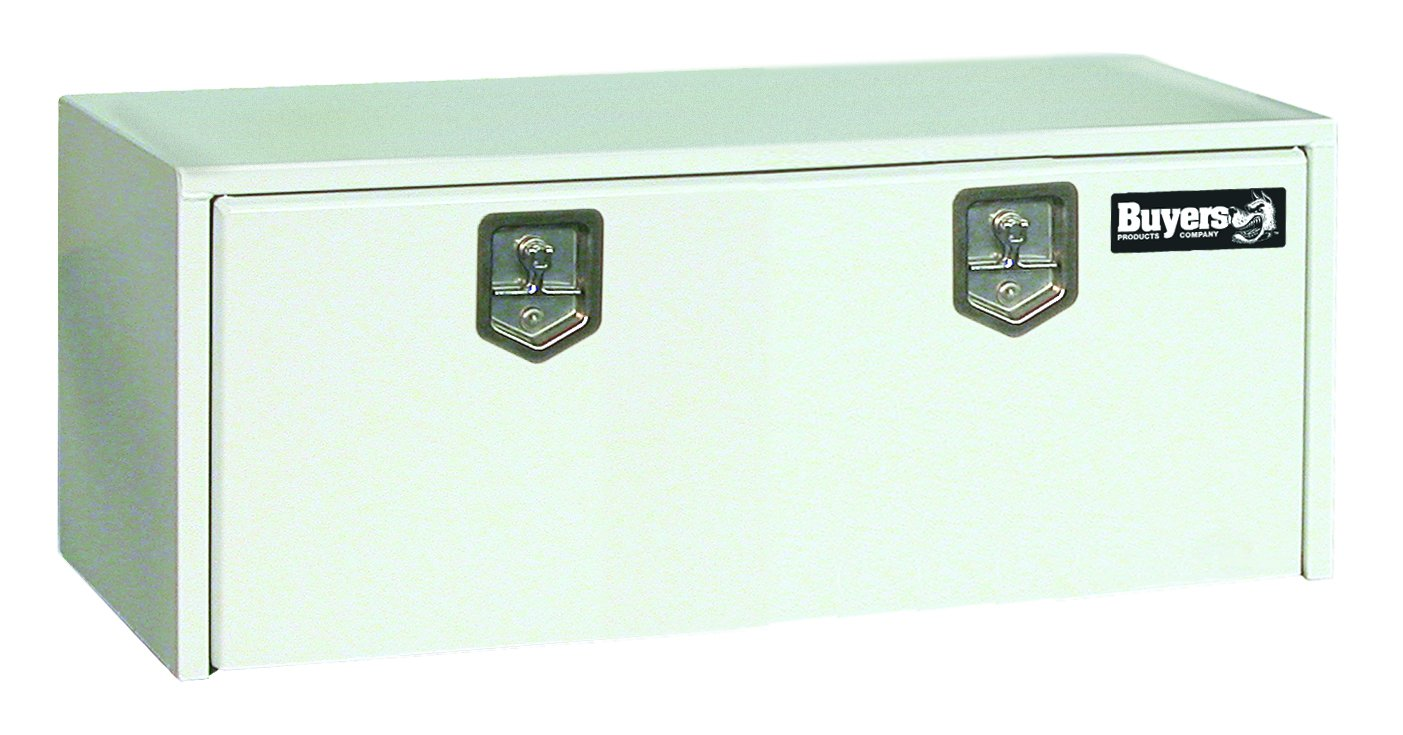 Buyers Products White Steel Underbody Truck Box w/T-Handle Latch (18x18x48 Inch)