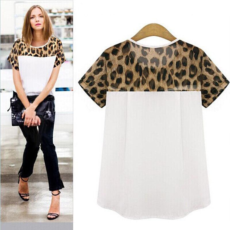 a1d17bd5694d Wholesale Women T Shirts Chiffon Leopard Printing Round Neck Girl ...