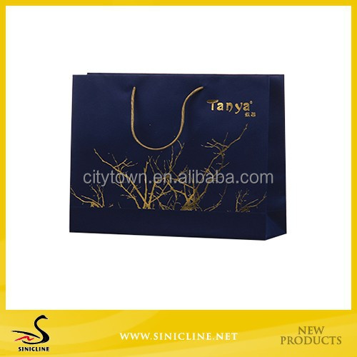 Sinicline Custom Printing Paper Shopping Bags with gold foil