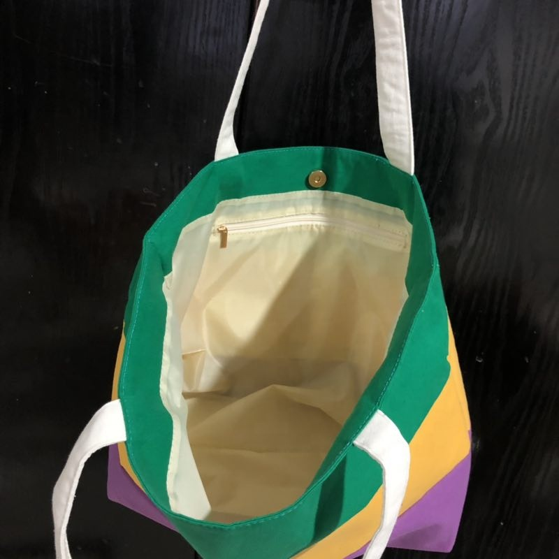 New Arrival Mardi Gras Canvas <strong>Tote</strong> Green Striped <strong>Tote</strong>