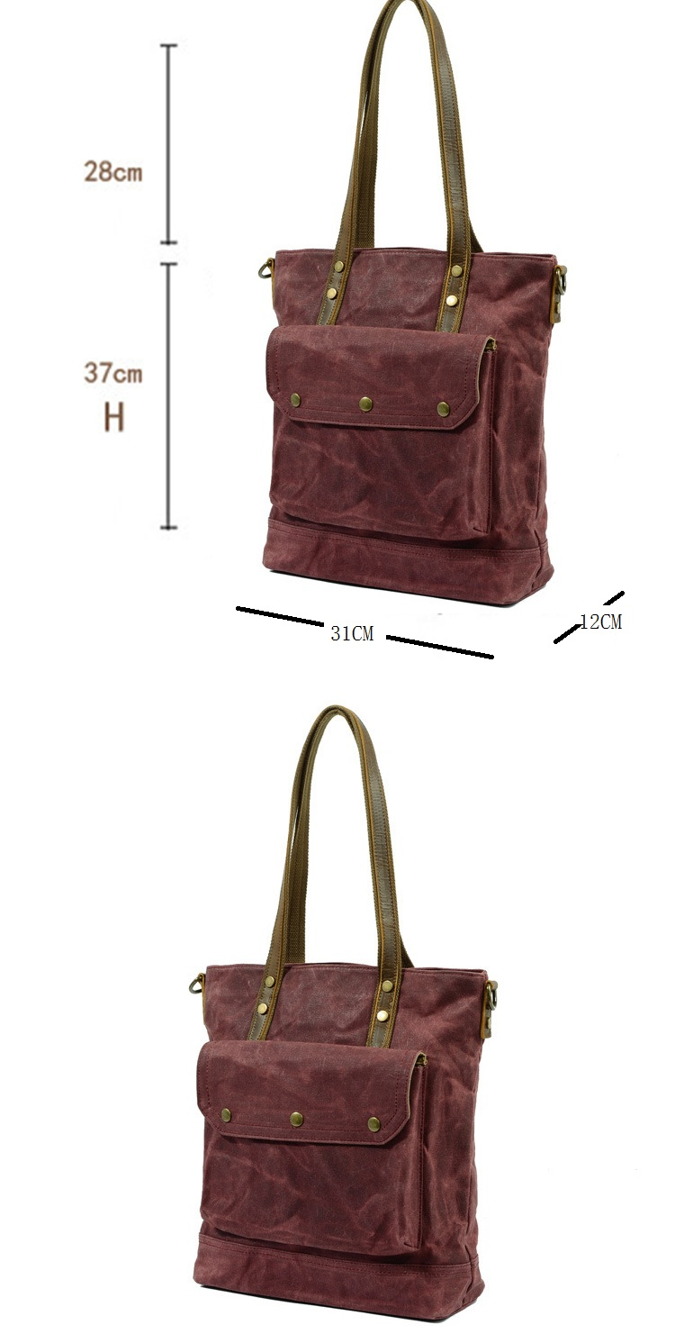 Vintage retro waxed canvas waterproofing daily ladies handbag hand shoulder tote shopping bag
