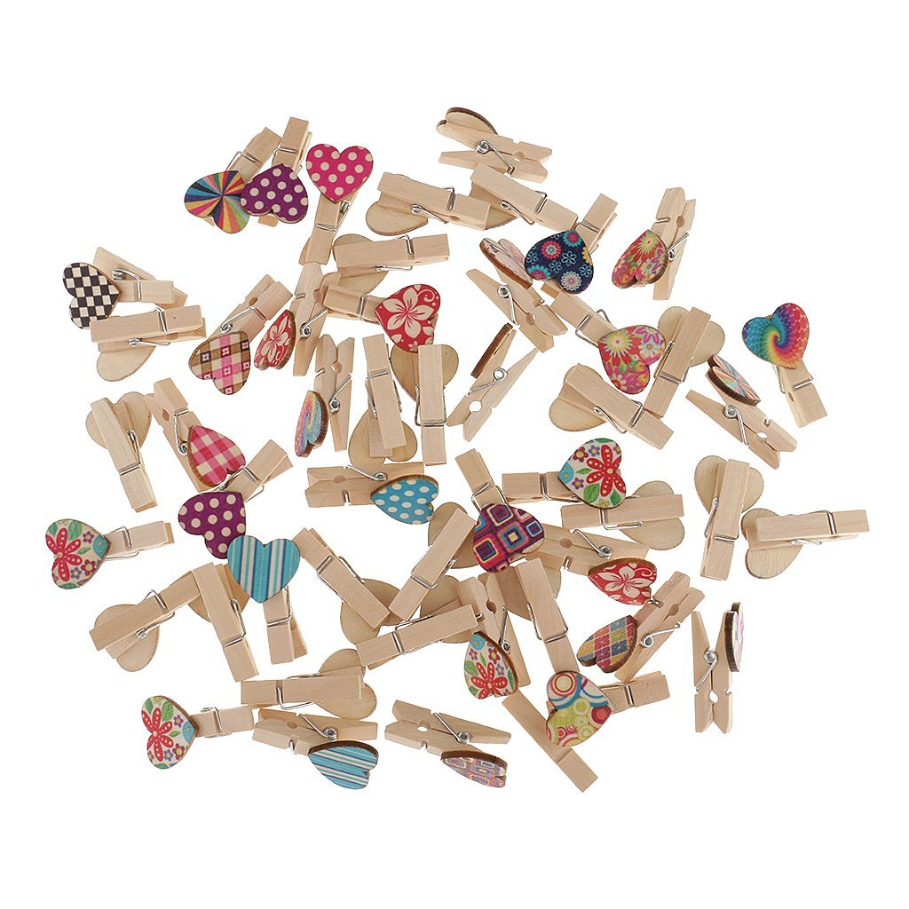 Jili Online 50 Pieces Mini Pegs Wooden Heart Love Shaped Pegs Clothes Peg Wooden Clamp Clips