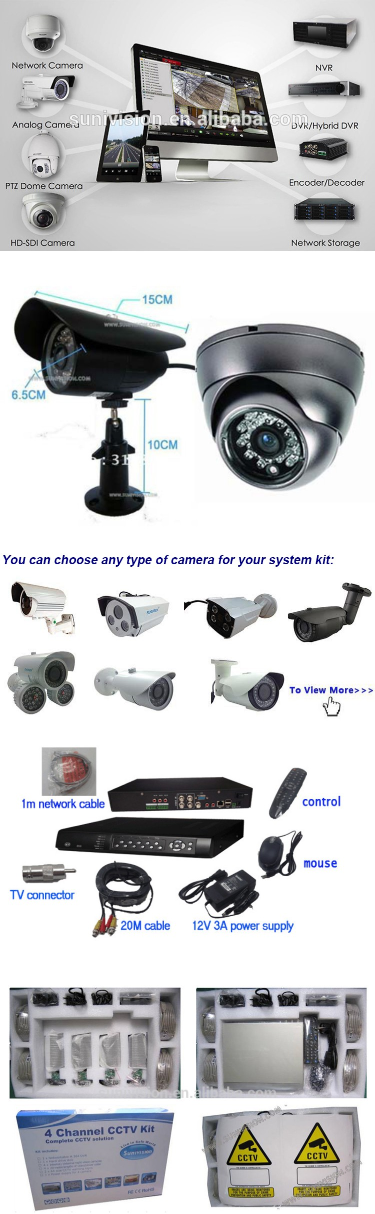Metal indoor and outdoor Sony 700tvl home Security Systems 8ch cctv camera dvr kit