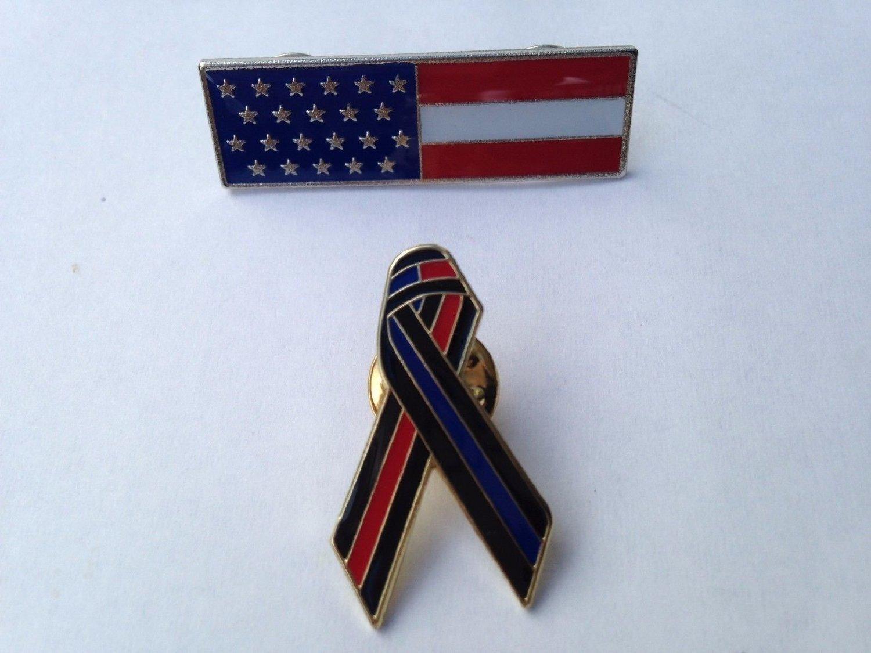 5821bdf68faf Get Quotations · Thin Red Thin Blue Line Awareness Ribbon Uniform Lapel Pin  & USA Flag Fireman Firefighter Hero