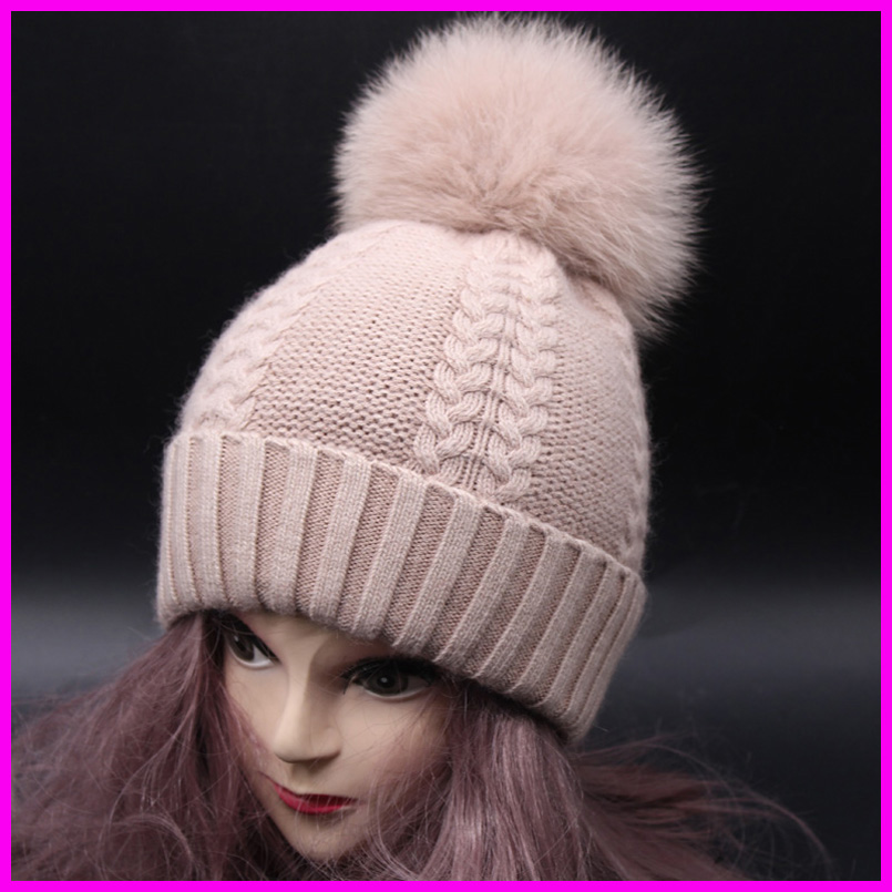 a74f3fb586c Fox Fur Pompom Winter Hats For Women Cashmere Wool Knit Beanie Cap ...