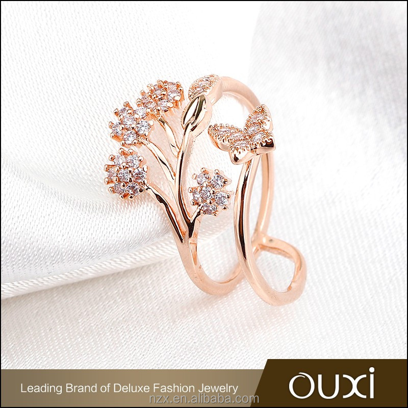 OUXI 2016 Fashion design wholesale price Flower charming AAA zircon Rose gold plated wedding rings 40172